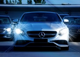 Automotive glass coating on mercedes