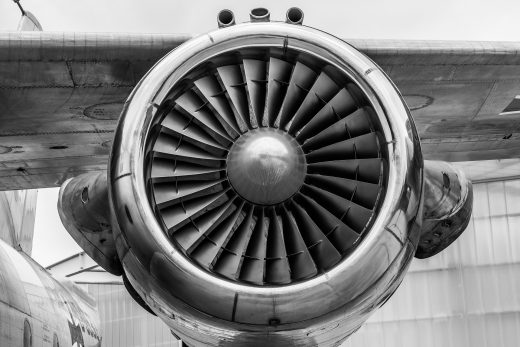 an aircraft engine with aerospace coatings