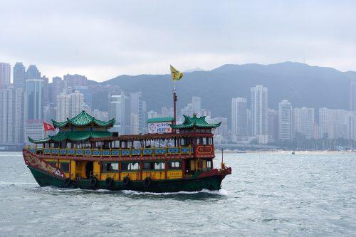 marine coating protecting a tour boat at the coast of Hong Kong
